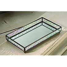 J Devlin TRA 101 Glass Tray with Mirrored Bottom Vanity Jewelry Organizer 9 x 5 x 1 1/4