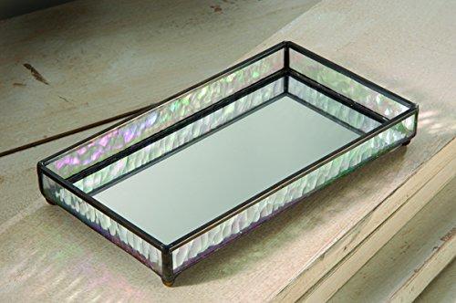 J Devlin TRA 101 Glass Jewelry Tray with Mirrored Bottom Vanity Organizer 9 x 5 x 1 1/4