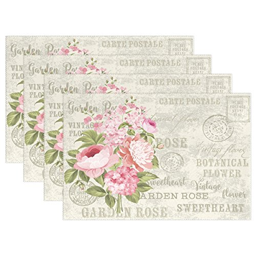 WOZO Shabby Chic Floral Placemat Table Mat, Vintage Flower 12