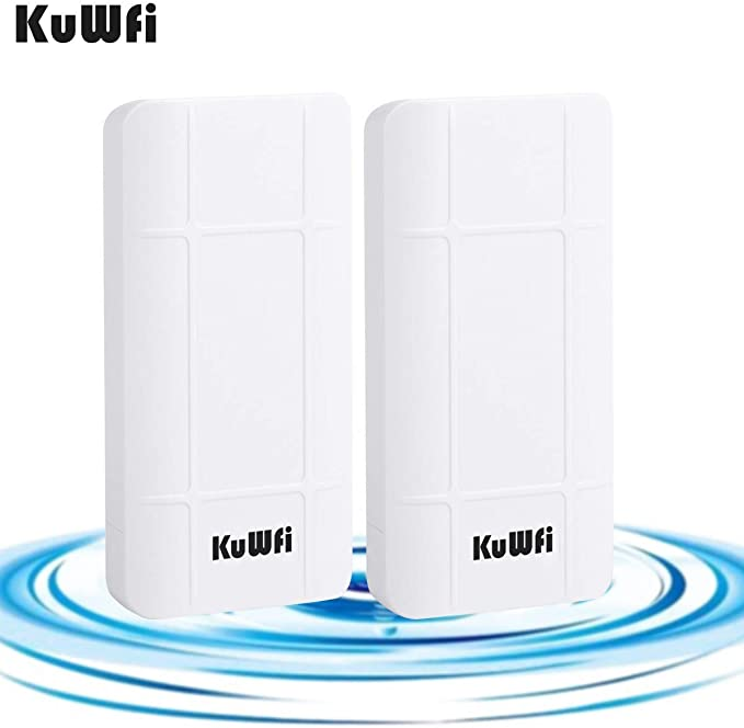 KuWFi 300Mbps Punto de Acceso inalámbrico, PoE CPE para Exteriores Kit de Puente inalámbrico de 2.4GHz, Puente de Punto a Punto para Interiores y ...