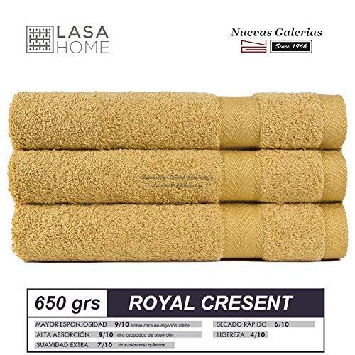 Lasa Royal Cresent 650 Gramos - Juego de 3 Toallas para tocador, 40 x 60 cm, Lavabo, 50 x 100 cm y baño, 100 x 150 cm, Color Blanco: Amazon.es: Hogar