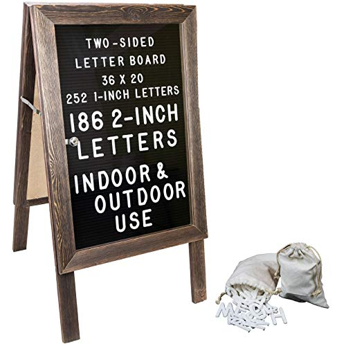Large Wooden A-Frame Sign 36x20 Felt Letter Board with Changeable Letters & Enclosure. Freestanding Rustic Vintage Message Felt Board. Double Sided Display. Standing Sidewalk Sign. (Message Board Rustic)