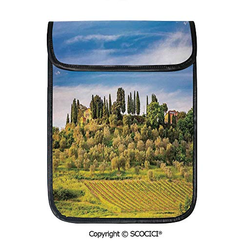 SCOCICI iPad Pro 12.9 Inch Sleeve Tablet Protective Bag Green Field Tranquil Landscape Retro Stone Toscana Farmhouse Vineyard Custom Tablet Sleeve Bag Case