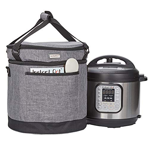 HOMEST 2 Compartments Carry Bag Compatible with 8 Quart Instant Pot, These Pressure Cooker Travel Tote Bag Have Accessory Pockets for Spoon, Measuring Cup, Steam Rack, Grey (Patent Design)