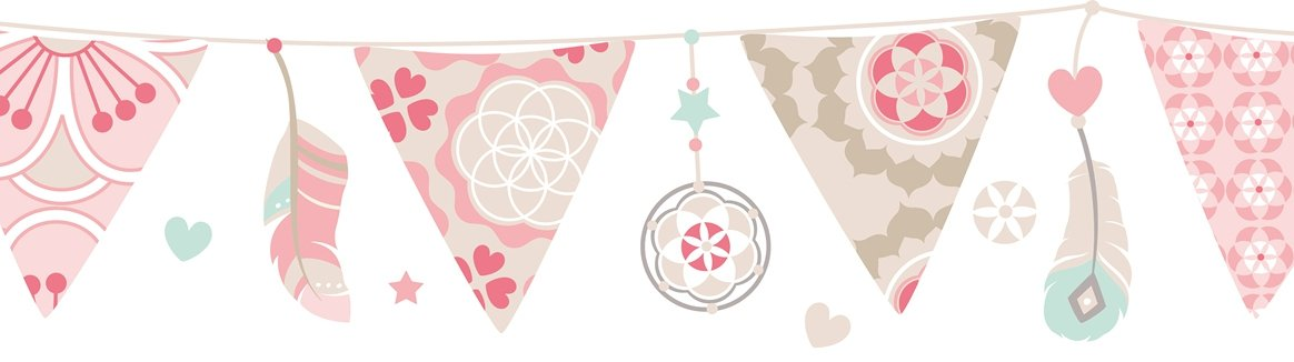 lovely label Wallpaper Border for Kids - Pennant String Stickers for Children's Playroom or Bedroom in Pastel Colours - Self-Adhesive Wall Border Stickers - Wall Decal and Stickers for Children