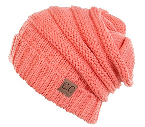 H-6100-52 Oversized Slouchy Beanie - Coral