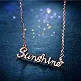 BAOZIV587 Simple Rose Gold Titanium Steel Necklace Female Does not Fade Clavicle Chain Neck Chain Hanging Ornaments with Accessories Tide, Tang Yi Letters