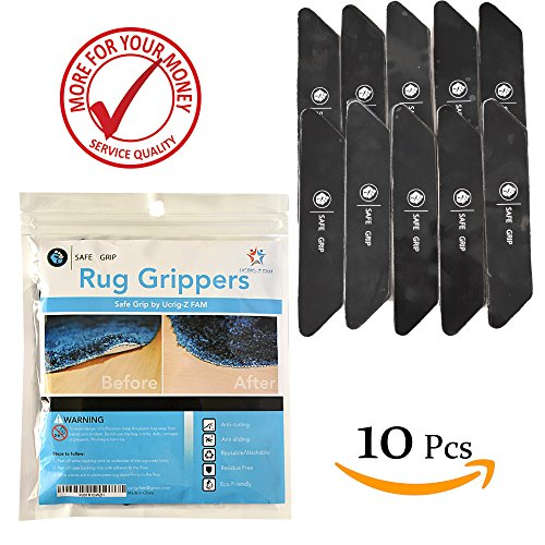 Non Slip Rug Pad Grippers - Rug Gripper for Hard Floor Surfaces; Works Indoor & Outdoor Antislip Anti Skid Anti curling, Keeps Corners Edges Flat; Safer then Rug Tape by Safe Grip - Best 10 pcs pack by Safe Grip by Ucrig-Z FAM (Image #2)