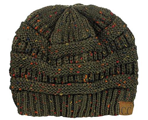 C.C Unisex Colorful Confetti Soft Stretch Cable Knit Beanie Skull Cap - Dark Olive