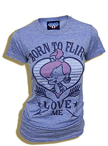 Flinstones Pebbles Born to Flirt Love Me Blue Juniors T-Shirt Tee (X-Large)