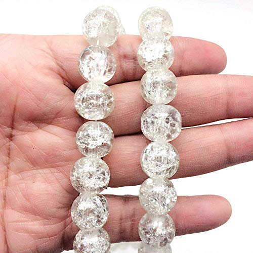 PEPPERLONELY Brand 160 Grams (Apprx 70 PC) Clear Round Crackle Glass Beads, 12mm(1/2 Inch)