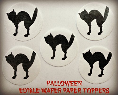 12 HALLOWEEN BLACK CAT SILHOUETTE SPOOKED SCARED PRECUT EDIBLE CAKE TOPPERS 1.5