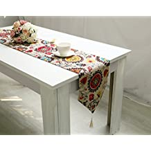Ikeelife Country Rustic Cotton Linen Table Runner with Tassel Sun Flower 1Pcs 32*220cm