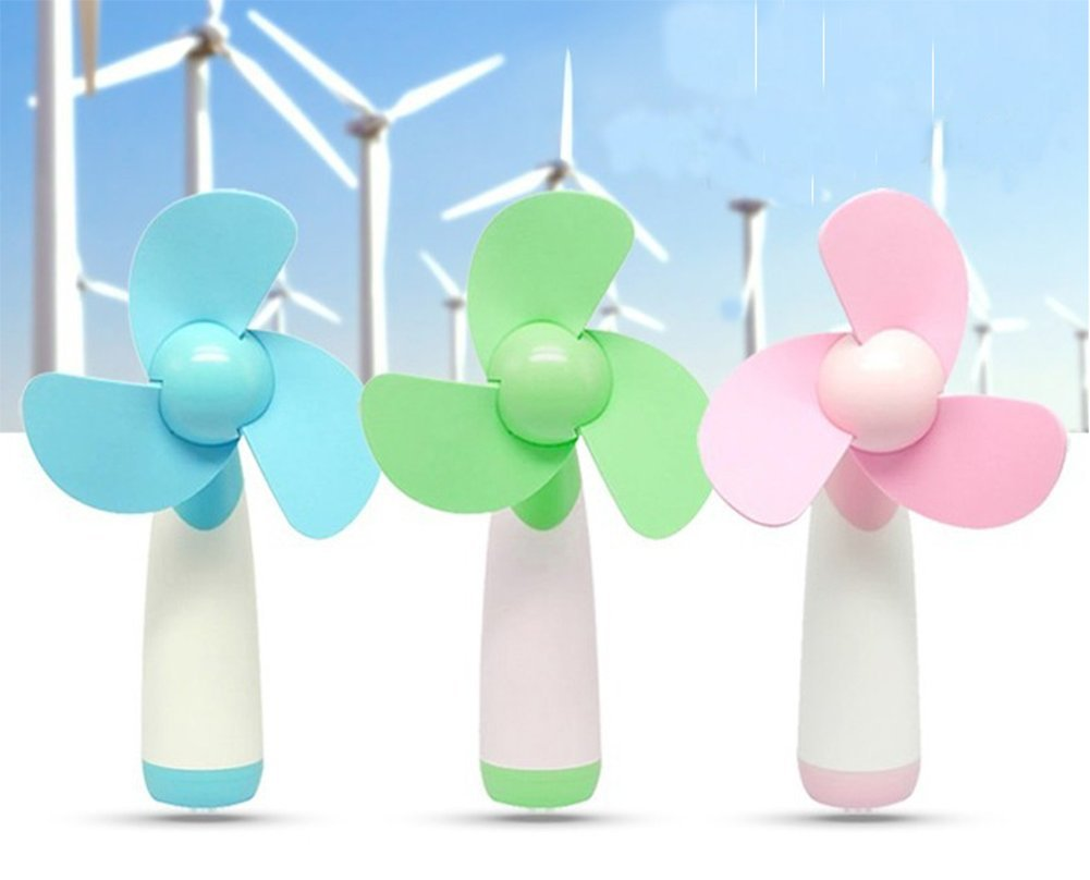 7cm Green Monbedos Dessin anim/é Mini Portable Handheld Super Mute Ventilateur Aliment/é par Pile AA pour Home Office Voyage ext/érieur 18 10