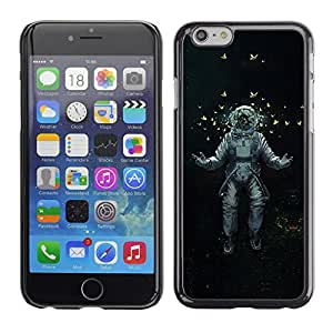 Qstar Arte & diseño plástico duro Fundas Cover Cubre Hard Case Cover para Apple (5.5 inches !!!) iPhone 6 Plus ( Astrounaut Cosmonaut Space Art Butterflies)