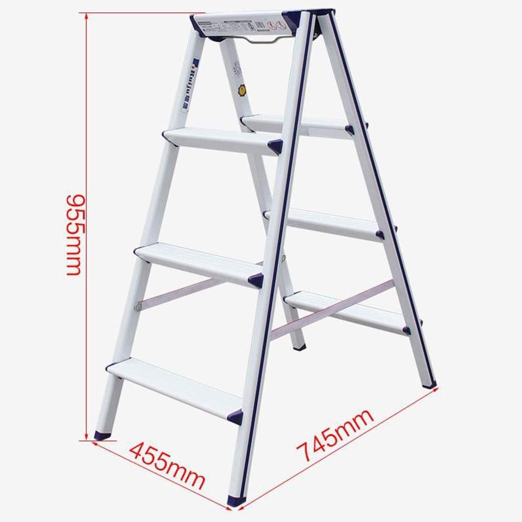 Escaleras plegables peldaños, 4-Paso Escalera de Aluminio, doble cara cocina taburete de paso, Heavy Duty escaleras de tijera, una de uso doméstico, Escalera multiusos con anti tacos antideslizantes: Amazon.es: Hogar