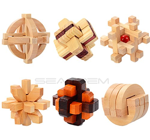 Inpay - Set of 6 Puzzle Wooden Puzzle Cube Games - 3D Interlocking Blocks for Teens and Adults - Brain Training Intelligence Travel Toys Leisure Games (C)