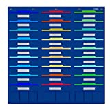 pocket chart stand dry erase - Pocket Chart, File Folder Organizer with 27 large + 8 small Pockets for Office, School, Home, Studio, etc. 41 X 40 inch, BLUE, Mountings READY (8 hangers)