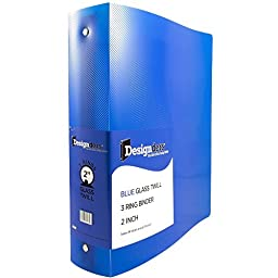 JAM Paper® Designders® - Plastic 3 Ring Binder - 2 Inch Width - Blue - Sold Individually