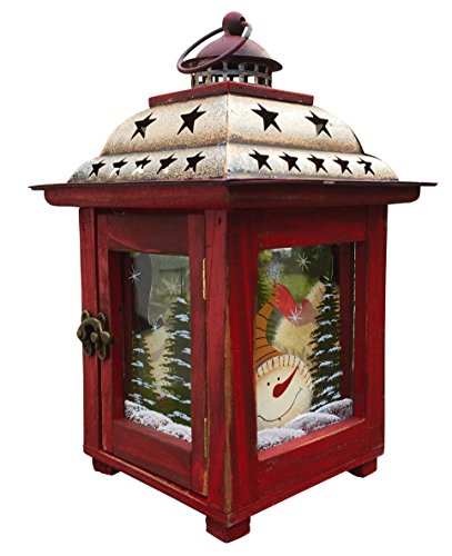 Christmas Snowman Lantern Decoration - Decorative Holiday Table Centerpiece or Hanging Lantern Holder for Pillar Candle or LED Light Indoor Use, by Clovers Garden (10.5
