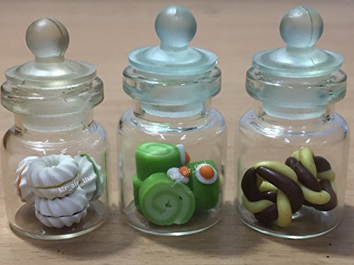3pc Miniature Chocolate Cookie Cake Candy Dollhouse Cake in Clear Glass Mini Bottle fruit Food ()