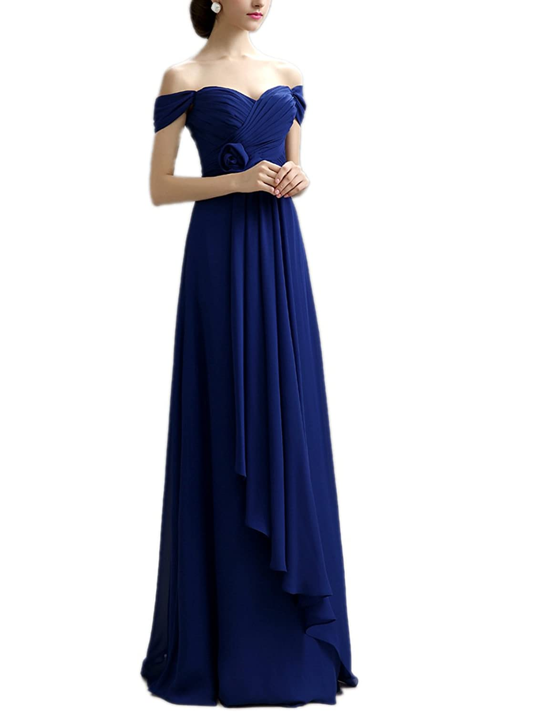 Ikerenwedding Women's Off Shoulder Ruched Bust Long Chiffon Formal Evening Dress