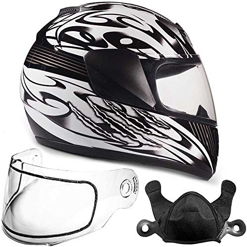 Typhoon Helmets Youth Kids Full Face Snowmobile Helmet DOT Dual Lens Snow Boys Girls - Black (Large) (Youth Snowmobile Helmet)