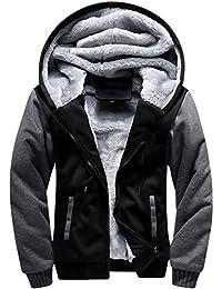 Men's Heavyweight Hooded Sweatshirt Front-Zip Fleece Hoodie with Split Kangaroo Pocket