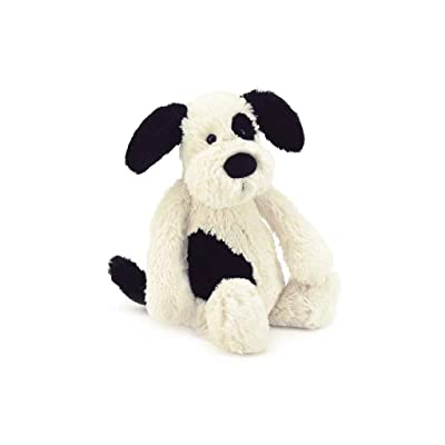 Jellycat Bashful Black and Cream Puppy Stuffed Animal, Medium, 12 inches: Toys & Games