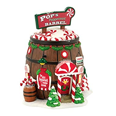 Department 56 North Pole Series Village Pop's Peppermint Barrel Lit House, 5.7-Inch