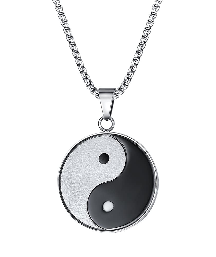 Stainless Steel Tai Chi Yin and Yang Black White Brushed Finish Round Pendant Necklace for Men- with 20 Chain Mealguet MG-PN-602