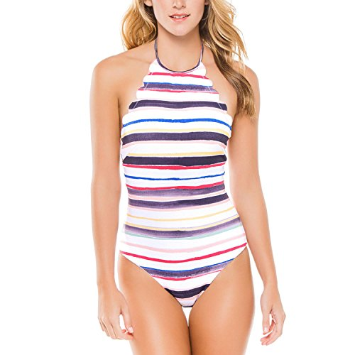 Yolev Monokini One Piece Swimsuits for Women, Maillot Bathing Suit with Crisscross Front and Backless Details (Large, Colorful, Halter-Neck)