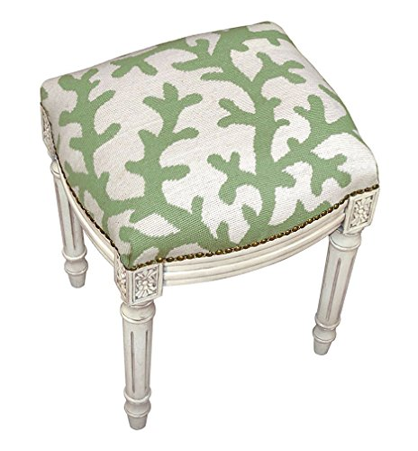 Needlepoint Stool (Stools - Coral Gables Needlepoint Stool - Vanity Seat - Green and Ivory Seat Cushion - Upholstered Stool)