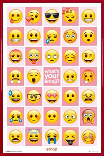 Emoji Favorites Emoticons Poster and Frame 36 x 24 inches)