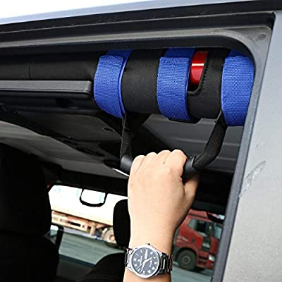 KKmoon Jeep Wrangler Roll Bar Grab Handles, 4Pcs Roll Bar Grab Handles Set, Grip Handle Wrangler Roll Bar Fit for Jeep Wrangler YJ TJ JL JK,Blue: Automotive