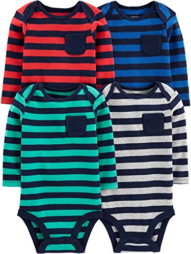 Simple Joys by Carter's Boys' 4-Pack Soft Thermal Long Sleeve Bodysuits, Stripes 24 Months