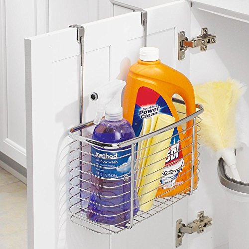 InterDesign Axis Over the Cabinet Kitchen Storage Organizer Basket for Aluminum Foil, Sandwich Bags, Cleaning Supplies - Large, Chrome by InterDesign (Image #5)