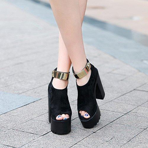 DJ ahuecado alta cm de XiaoGao botas botas fondo grueso espesor Black y de De super cortas etapa 15 F8v8wqX