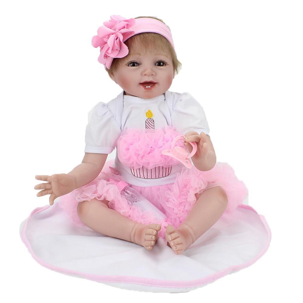 LINAG Muñeca Renacida Bebé Vinilo Silicona Suave Realista Fashion Juguetes Toque Cumpleaños Niña Lifelike Jugar Doll Casa Regalo Lindo Educación Temprana 55cm Doll-83268