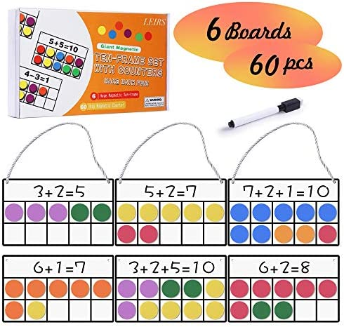 Magnetic Ten-Frame Set, 6 Ten Frames and 60 Colorful Magnetic Math Counters for Kids, Math Manipulatives for Elementary Kindergarten & Classroom, Math Games Educational Home Learning Toys