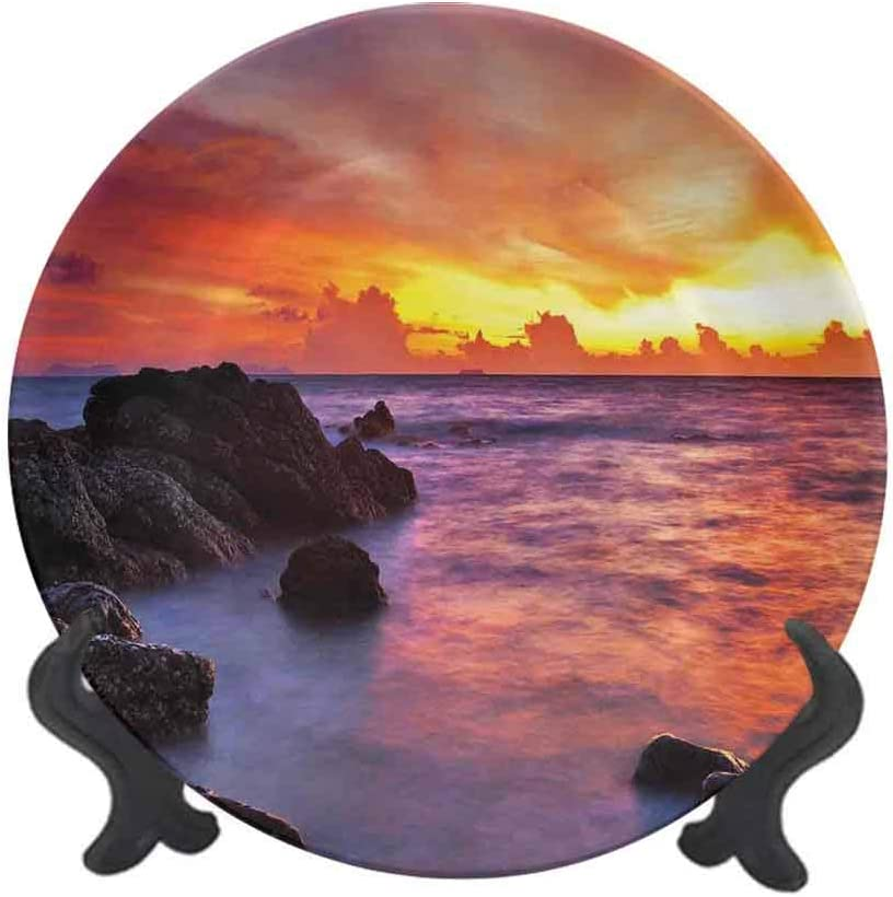 "Coastal Decor 7"" Ceramic Decorative Plate,Tropical Beach Sunset Golden Clouds Stones Calm Sea Summer Seaside Scene Dinner Plate Decor Accessory for Pasta,Salad,Party Kitchen Home Decor"