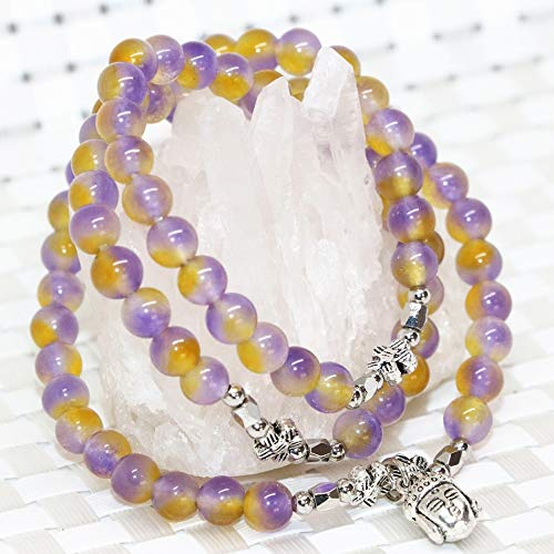 Multicolor Natural Jades Round Beads Stone Chalcedony Multilayer Bracelets | Special Buddha Head Pendants (6mm)