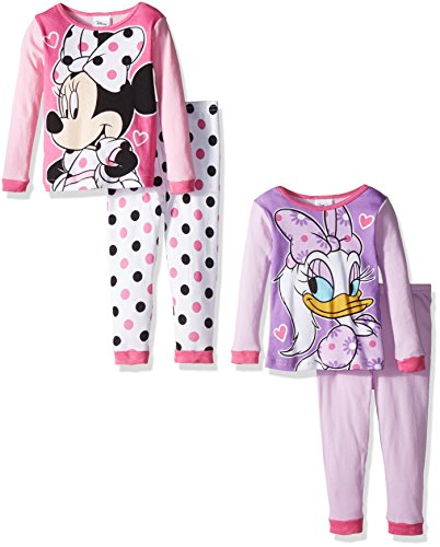 Disney Toddler Girls' Minnie Mouse 4-Piece Pajama Set, Assorted, 4T