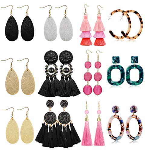 LOLIAS 12 Pairs Dangle Earring Tassel Thread Earrings Leather Teardrop Acrylic Drop Earring Set for Women Girls Statement Fashion Jewelry ()
