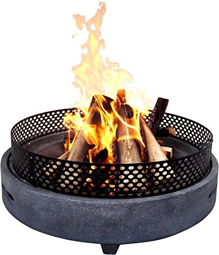 Contemporary Style Outdoor Polyresin Wood Burning Fire Pit with Weight Capacity 5 Kg(Materials: Steel, Color: Grey) Fireplace