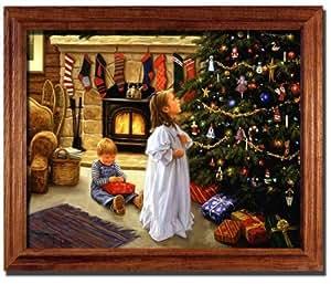 O christmas tree morning robert duncan framed for Christmas wall art amazon