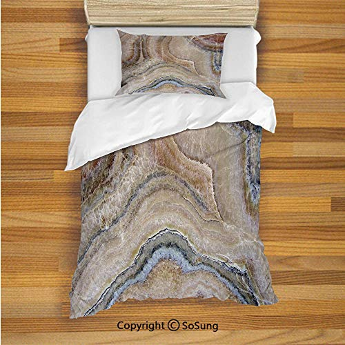 (Marble Kids Duvet Cover Set Twin Size, Surreal Onyx Stone Surface Pattern with Nature Details Artistic Picture Decorative 2 Piece Bedding Set with 1 Pillow Sham,Cinnamon Grey Tan Beige)