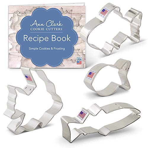 Fish Cookie Cutter Set with Recipe Booklet - 4 piece - Cute Fish, Goldfish, Angel Fish & Fish - Ann Clark - USA Made Steel