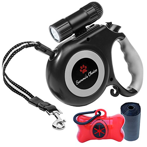 Retractable Dog Leash with Bright Flashlight For Small to Medium Breed Dogs, 16 ft Dog Walking Leash, Tangle Free Reinforced Nylon Cord, Dog Waste Dispenser Included - 100% Guarantee (Retractable Dog Animal Leash)