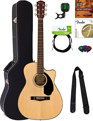 Fender CC-60SCE Concert Acoustic-Electric Guitar – Natural Bundle with Hard Case, Cable, Tuner, Strap, Strings, Picks, Austin Bazaar Instructional DVD, and Polishing Cloth